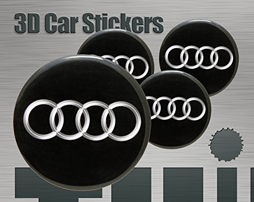 Think Ink Adesivi 3D Stickers 4 Pezzi Logo Audi Imitazione Tutte Le Dimensioni Centro cap Wheel Coprimozzo (60 mm)