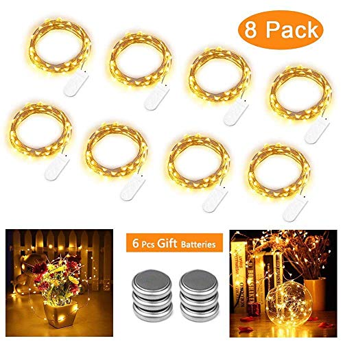Qedertek 8 x 30er Micro LED Lichterkette Batterie, WarmWeiss Flaschenlicht mit 3 Meter Silberdraht für Party, Garten, Weihnachten, Halloween, Hochzeit, Beleuchtung Deko (Kommen mit 6 Ersatzbatterien)