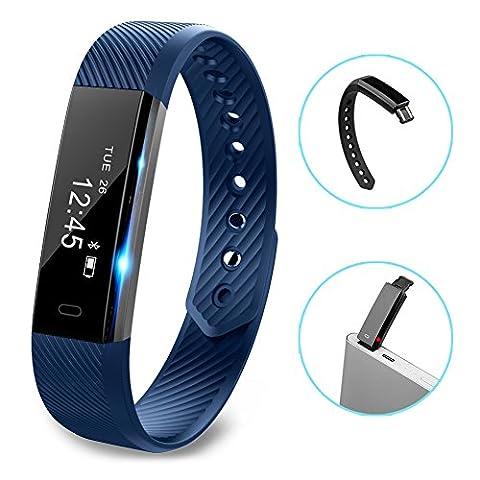 Fitness tracker montre, Hembeer V1Smart Bande avec Step tracker, podomètre Smart Bracelet tracker d'activité/moniteur de sommeil, les calories piste Antisueur Bluetooth Santé Fitness Band pour iPhone et téléphones Android, bleu