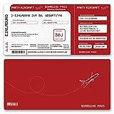 (60 x) Einladungskarten Geburtstag Flugticket Ticket Karte Einladungen in Rot