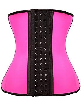 FeelinGirl Mujer Látex 9 Aceros Deshuesados Corsé de Entrenamiento Transpirable Rosa XS