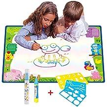 Grande Doodle Tappeto Magico da disegno Multicolore 70CM x 50CM,TQP-CK Doodle Del Tappetino Magico ad Acqua da Disegno con Confezione da 2 Pennarelli + Confezione da 3 Stencil