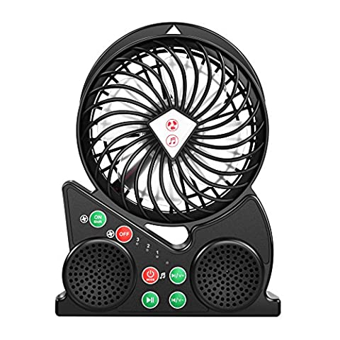 ELECNEWELL Personal Fans Portable Desktop Mini Fan Dual Bluetooth Speaker for iPhone Samsung LG Moto MP3 and all 3.5mm Compatible