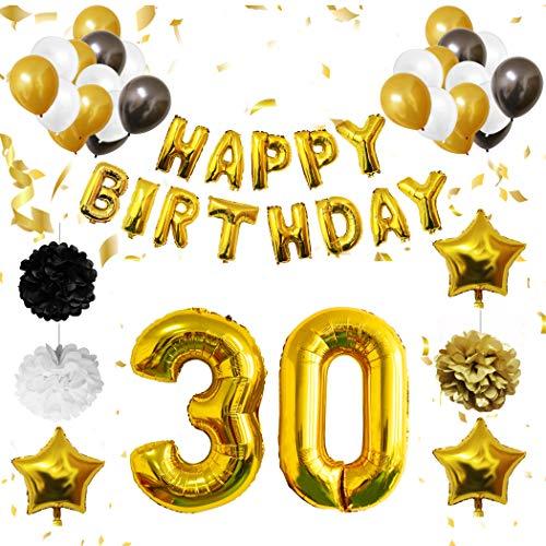 BELLE VOUS 30 Geburtstag Dekoration - 30. Geburtstag Luftballons Happy Birthday Banner Helium Party Luftballons Zum Hochzeitstag Party Deko Frauen Männer (30 Jahre) Gold Weiße Schwarze Latex Foilen (Schwarz Weiß-happy Und Birthday)