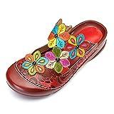 gracosy Pantoletten Damen, Damen Clogs Sandaletten Sommer Leder Sandalen Hausschuhe Schuhe Zehentrenner Pantolette mit Bunte Blume Weich