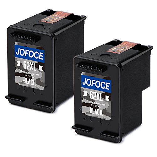 Jofoce remanufactured hp 62 62xl cartucce d'inchiostro (2 nero), compatibile con hp envy 5640 5540 7640 5546 5646 5542, hp officejet 5740 5742 200 stampante
