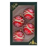 4er Set Weihnachtskugeln Christbaumkugeln Kugeln rot mit Kringeln und Schneesternen, mundgeblasener Baumschmuck aus Glas Ø ca. 7 cm