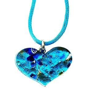 Venise en forme de coeur en verre de Murano Bleu océan et argent 925 Pendentif Feuille Collier. Véritable main en Italie, joliment présenté dans une boîte cadeau avec certificat d'authenticité.