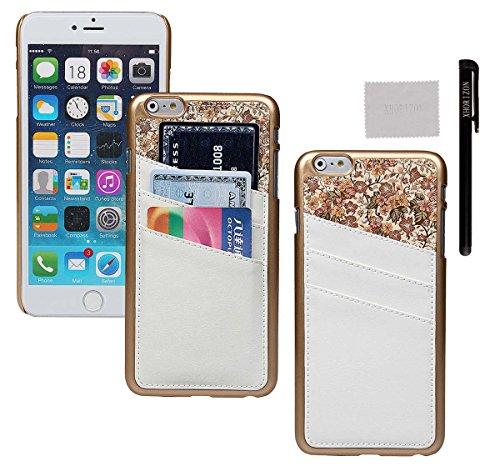 xhorizon® Für iPhone 6 Plus Case [ 5,5-Inch ] [ Kartenhalter ] Luxus Blumen Leder Harte rückseitige Abdeckung Verschluss auf Hülle mit einem Stylus / Reinigungstuch Weiß