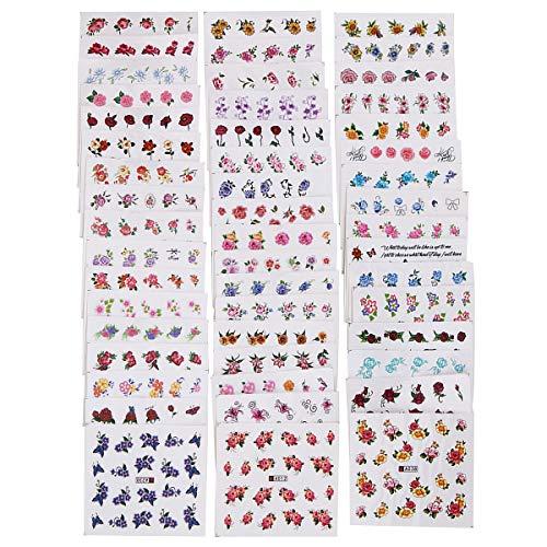 Gaddrt Nagel-Kunst-Aufkleber 50 Teile/los Nail art Tipps Decals Wassertransfer Gemischte Blumen Aufkleber (A)