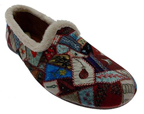 pantofola bordeaux fantasia patchwork art 4138 39 bordeaux