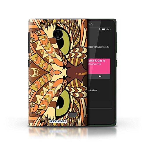 Kobalt® Imprimé Etui / Coque pour Nokia X / Tigre-Couleur conception / Série Motif Animaux Aztec Hibou-Orange