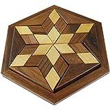 Hecho a mano indio de 18 piezas de rompecabezas de placa estrella rompecabezas juego - juego del juguete de madera - enigmas -15.2 x 15,2 x 3,8 cm
