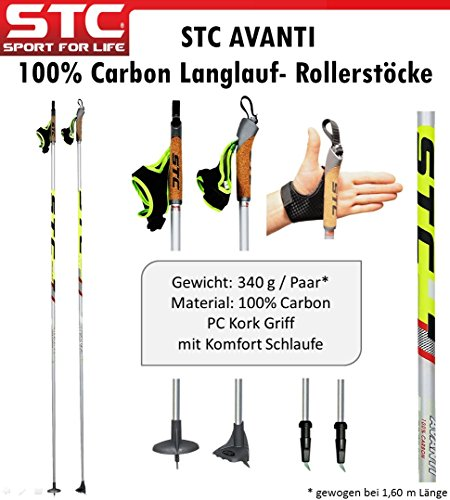 STC Avanti Langlauf Stock, Skate Blade, Rollerstöcke, Nordic Skating, Skike Stöcke 100{986f7480351441b984858b9596505ab92907ea3207d27dd55df24dcbf4b86a32} Carbon 150 cm