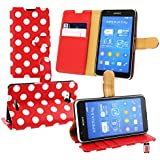 Emartbuy® Sony Xperia E4g / Xperia E4g Dual Brieftaschen Wallet Etui Hülle Case Cover aus PU Leder Polka Dots Rot Weiß mit Kreditkartenfächern