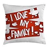 Family Throw Pillow Cushion Cover, Red Banners with Family Love Message and White Hearts Passionate Illustration, Decorative Square Accent Pillow Case, 18 X 18 Inches, Orange White
