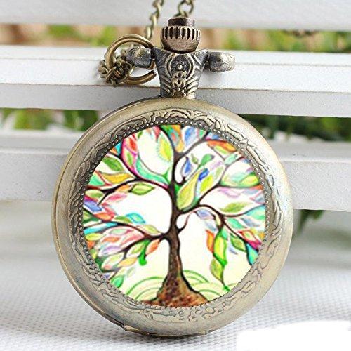 Reloj de bolsillo vintage colorido con colgante de árbol de la vida, chapado en bronce, collar hecho a mano, reloj de bolsillo, joyería para mujeres, hombres, niños y regalos