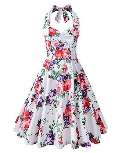 Yanlian Damen Neckholder 1950er Vintage Retro Rockabilly Kleider Petticoat Faltenrock Cocktail Festliche Kleider Weiß Violett M