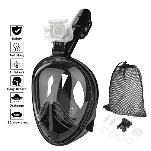 HOVNEE Masque de Plongée,Masque Snorkeling Plein Visage 180° Visible, Canaux Anti-buée à Double Flux d'air et Conception à Dessus Sec Flotteur Silicone étanche Anti-Buée et Anti-Fuite (Black, S)