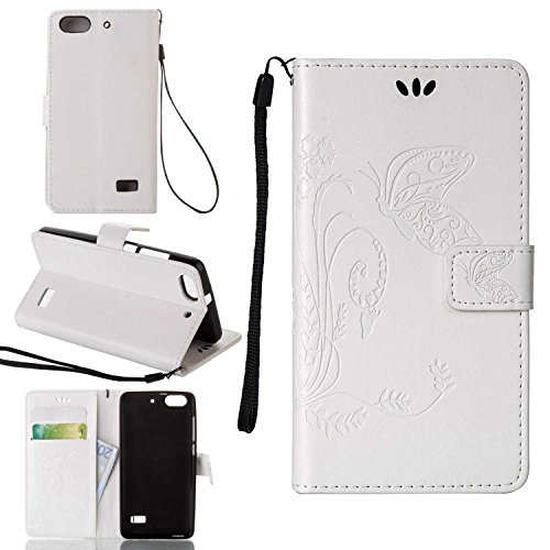 pinlu Schutzhülle Für Huawei G Play Mini (Honor 4C) Handyhülle Hohe Qualität PU Ledertasche Brieftasche Mit Stand Function Innenschlitzen Design Schmetterling Gras Muster Weiß
