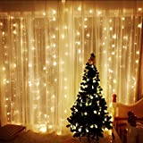 Amzdeal Curtain Lights 2 ×3m 204 LEDs, 8 Modes Window Curtain Icicle Lights, Fairy String Lights for Christmas/ Wedding/ Party/ Garden Decorations(Warm White)