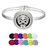 All Products : HooAMI Essential Oil Diffuser Cuff Bangle Bracelet, Hollow Skull Head Stainless Steel Locket Pendant with 12 Refill Pads