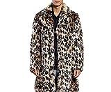 Pelzmantel Kunst Felljacke Herren Leopard Muster Design Winterjacke Mantel Kunstpelz Lang Jacke Faux Fur