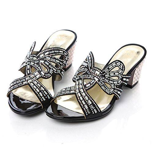 Chunky tacchi tacco strass all'aperto pantofole/usura esterna sandali A
