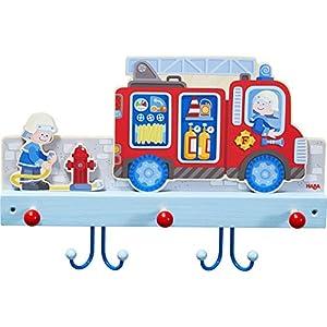 HABA 304260 – Garderobe Feuerwehr, Wandgarderobe aus Holz mit Feuerwehrmotiv und Haken aus Metall, Garderobenleiste für…