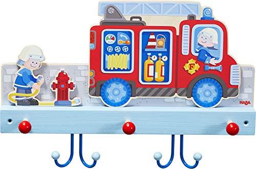 HABA 304260 - Garderobe Feuerwehr, Wandgarderobe aus Holz mit Feuerwehrmotiv und Haken aus Metall, Garderobenleiste für Vorraum oder Kinderzimmer