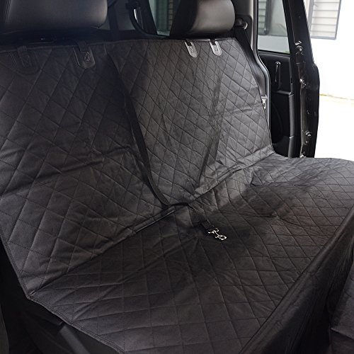 [Reinforced Version] Waterproof Back Seat Dog Cover for Cars and SUV with Extra Dog Seat Fixed Belt, Seat Anchors, Nonslip Backing – 58″x54″ Machine Washable Convertible Pet Car Hammock