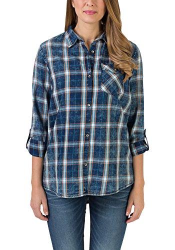 Timezone Long Indigo Shirt, Chemise Femme Blau (True Indigo Check 3910)