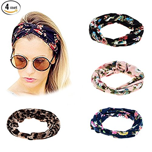 Ever Fairy® 4Pcs Women Floral Print Cotton Headbands for Sport or Daily Wear Test