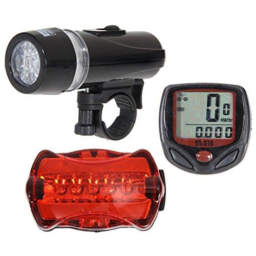 Hunpta Fahrrad-Tachometer + 5 LED Mountainbike Fahrrad Licht Kopf + neue Schlussleuchte (Schwarz)