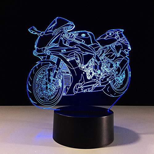 WangZJ 3d Illusion Lampe/weihnachtsgeschenk/nachtlicht neben tischlampe / 7 farben ändern/geburtstagsgeschenk/mode motorrad - Rote Bio-conditioner