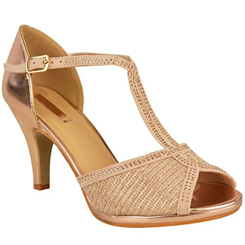 Escarpins à strass - parfaits pour mariage/bal de promo/soirée - femme - Rose doré métallisé/strass - EUR 41
