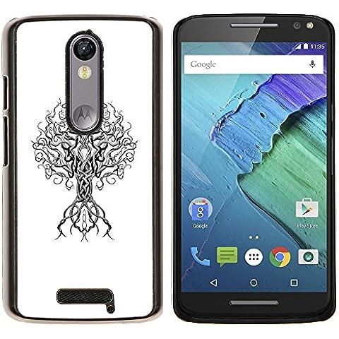 Poder Blanco Negro minimalista profundo Árbol- Metal de aluminio y de plástico duro Caja del teléfono - Negro - Motorola Droid Turbo 2 / Moto X