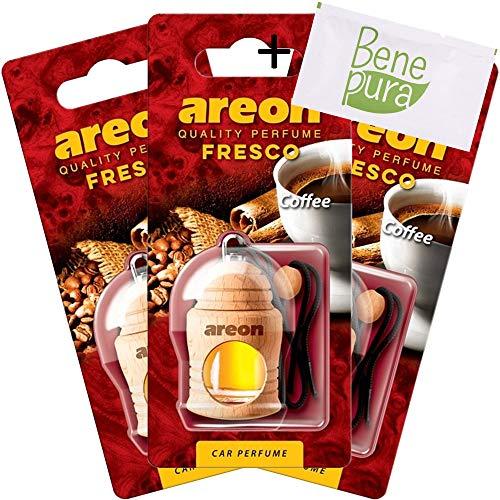 AREON Auto Lufterfrischer Parfüm Fresko 4 ml - Kaffee-Duft - Hängende Flasche Diffusor mit Echtholzdeckel, langlebig, Set von 3 -