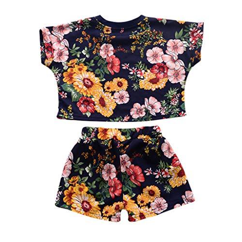 LILICAT Kleinkind Baby Mädchen Dot Gedruckt Bluse Polo Shirt Top Baumwoll Kurzarm T-Shirt +Shorts 2tlg (Ariel Pink-kleid Halloween-kostüm)