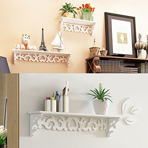 OGORI Set Of 3 Shabby Chic Style Floating Wall Shelves Bookshelf White Wall  Mounted ...