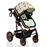 Pavo Italia Luxury 600D Linen Stroller Cum Carry Cot with One-Touch Braking System