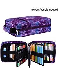 Bleistifttasche Slot - Hält 202 Buntstifte oder 136 Gelstifte mit Reißverschluss - Großer Kartuschenhalter für Aquarellstifte & Marker Perfektes Geschenk für Studenten & Künstler Stripe purple