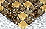 Fliesen Mosaik Mosaikfliesen Glas glänzend Gold Beige Bad WC Küche 8mm Neu #S20
