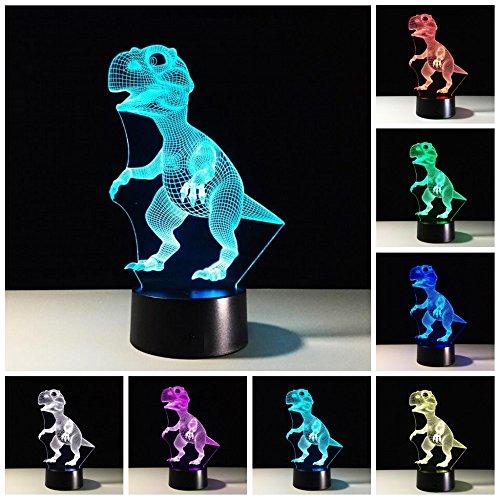 Dinosaurier 3D Optische Illusions-Lampe,7 Farben Berührungsschalter Schreibtisch LED Nacht Lichter mit USB-Kabel zum Kinder Weihnachtsgeschenk Haus Dekoration 3D lampe