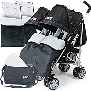 Zeta Twin Pushchair Complete Package (Black Dots)
