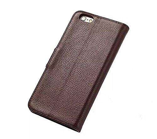 EKINHUI Case Cover Luxus Echtleder Fall Horizontale Flip Folio Stand Pouch Brieftasche Fall Deckung mit magnetischen Wölbung & Card Slots für IPhone 6 Plus & 6s Plus ( Color : Rose ) Brown