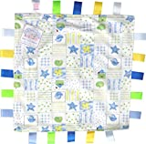 Baby Comfort Blanket Ultra Soft Velour Comforter & Edged with Taggies 30cms x 30cms Choice of Designs & Colours (Blue Patchwork)