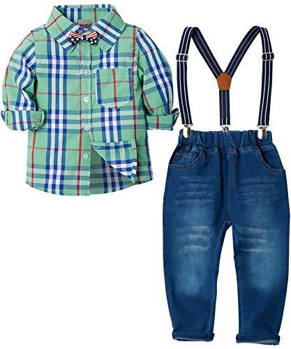Zoerea Baby Jungen Bekleidungssets Hosen & Shirt Gentleman Hosenträger Krawatte Jeans Kleinkind Outfits Grün,Größe 110 -