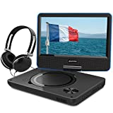 WONNIE 9,5' Lecteur DVD Portable avec Ecran Rotatif, Batterie Rechargeable Intégrée Carte SD / USB Parfait pour Enfants (Bleu)