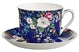 Maxwell & Williams WK09300 Kilburn Frühstückstasse mit Untertasse, Floral Muse, Geschenkbox, Porzellan, Blau/Bunt, 2 Einheiten